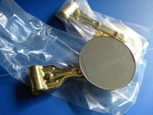 "Model T (any open car) Clamp on 4"" BRASS Mirror"