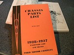 1928 - 1937 Ford Chassis Parts List Book