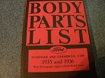 1935 1936 Ford Body Parts Book