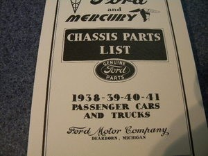 1938 through 1941 Ford and Mercury parts list