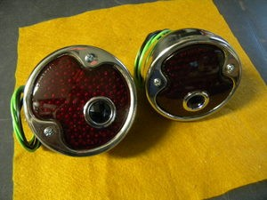 1932 Ford Tail Lamps, PAIR with Blue Dots