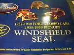 1932 Ford 3W coupe windshield seal + 1933 1934 Closed cars