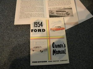 1954 Ford Car Owners Manual