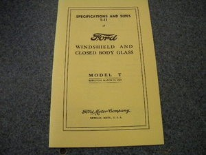 Model T Glass Specifications 1915 - 1927